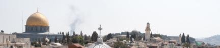 Al Aqsa with smoke behind